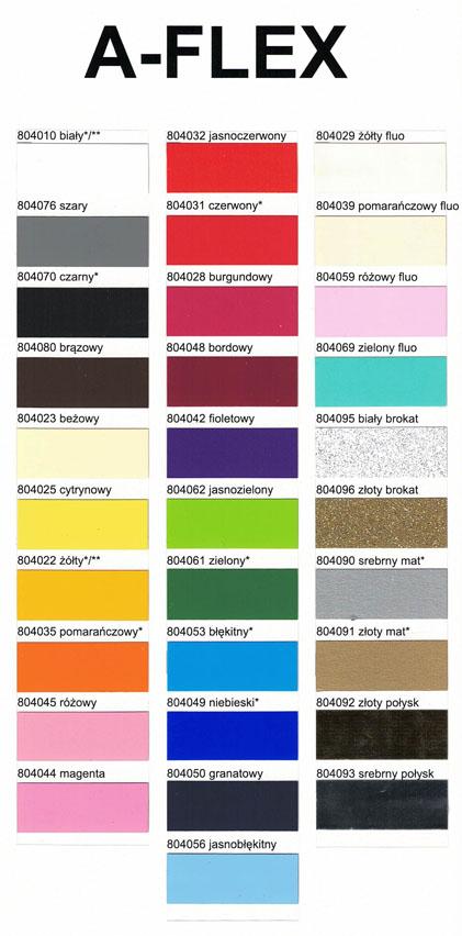 Wzornik kolorów folia flex